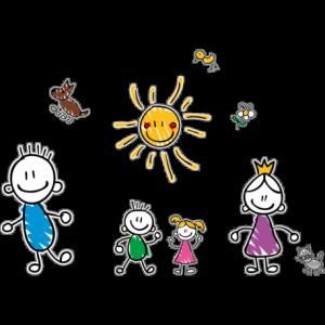 Детский рисунок семьи, где развиты качества хороших родителей.