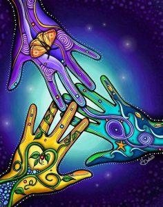 Три руки и символами - родные души.