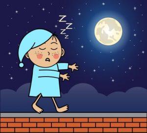Ребенок лунатит по ночам на крыше.