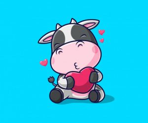 Векторное изображение быка с сердечком - какими будет дети 2021 года? Ребенок, рожденный в год быка.
