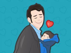Папа любит прижимать ребенка к груди.